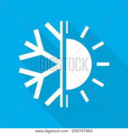 Sun and snowflake symbol of air conditioner. Vector illustration. Hot and cold icon in flat design on blue background.
