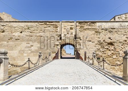 Drawbridge inside the fortress (old Cathedral hill) of Lleida city, Catalonia, Spain