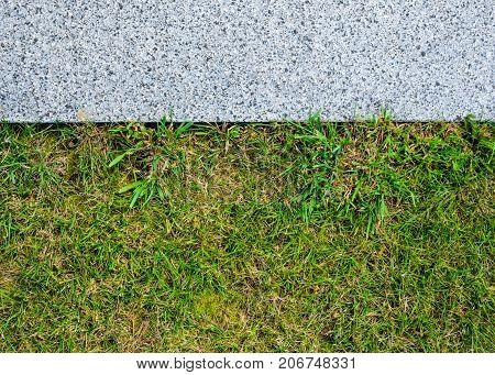 Gray Granite Pavement and Grass Lawn in Garden Decorative Texture