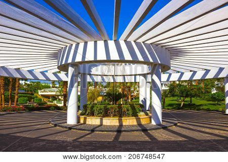 Sharm El Sheikh, Egypt - September 26, 2017: The main entrance and flowers at Monter Carlo Sharm Resort and SPA at Sharm El Sheikh, Egypt on September 26, 2017