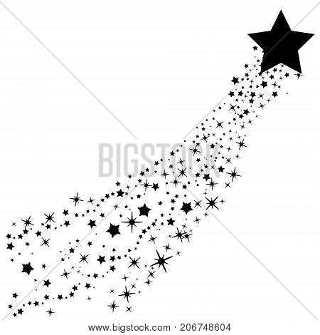 Abstract Falling Star Vector - Black Shooting Star With Elegant Star Trail On White Background - Met