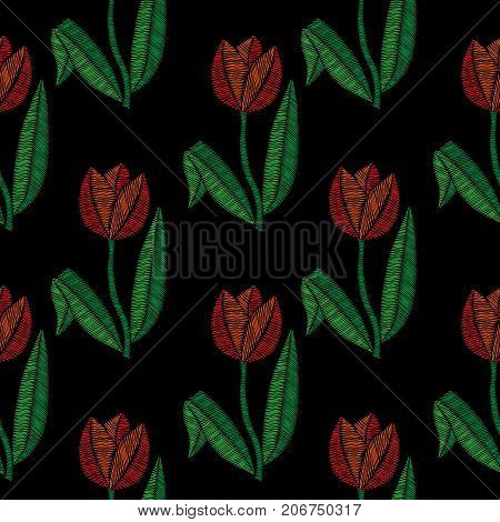 Embroidery stitches imitation seamless pattern with little tulip. Vector embroidery traditional folk tulip flower on black background. Embroidery flower.