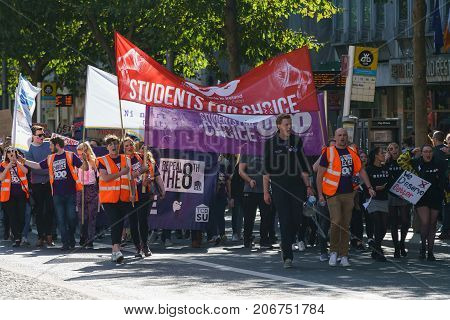Dublin, Ireland- 30 September 2017: March For Choice by the Abortion Rights Campaign (ARC). The demonstrators marched through Dublin city centre calling for the Eighth Amendment to be removed