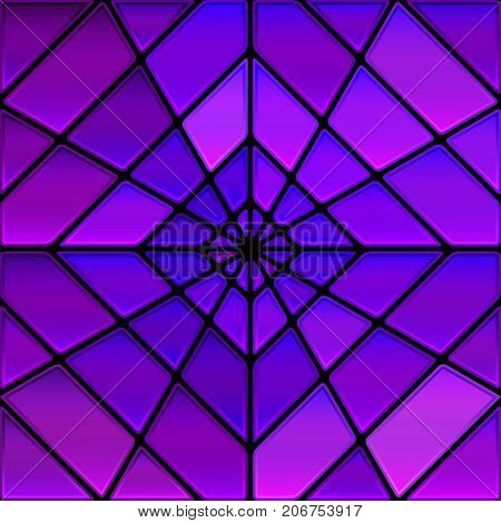 abstract vector stained-glass mosaic background - violet rhombus