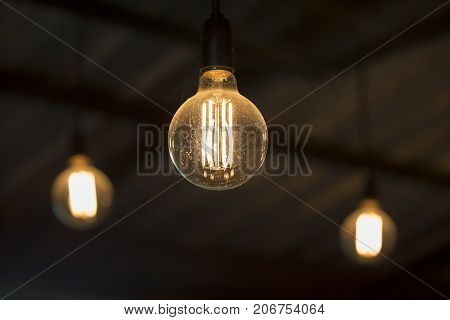 antique edison style light bulbs in cafe