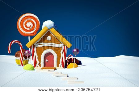 Gingerbread house with candy on snow field front view. 3d illustration.