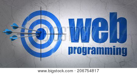 Success web design concept: arrows hitting the center of target, Blue Web Programming on wall background, 3D rendering