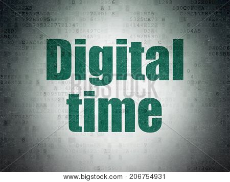 Time concept: Painted green word Digital Time on Digital Data Paper background