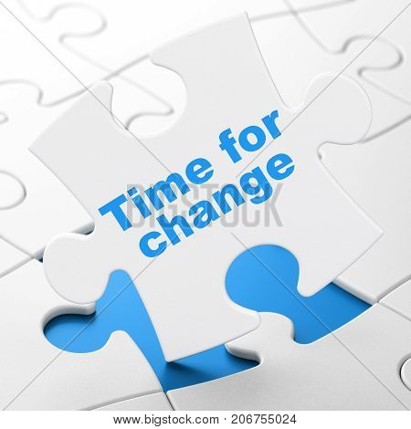 Timeline concept: Time For Change on White puzzle pieces background, 3D rendering