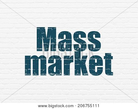 Advertising concept: Painted blue text Mass Market on White Brick wall background