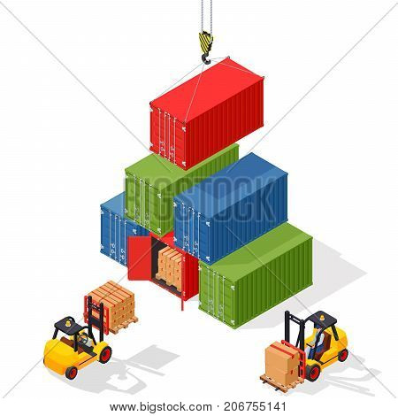 Marine cargo port. Unloading of sea cargo containers by a forklift. Closed containers and one outdoor. Isometric vector illustration.
