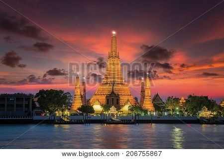 Wat arun with sunset in Bangkok city Arun temple famous destination for travel in Thailand