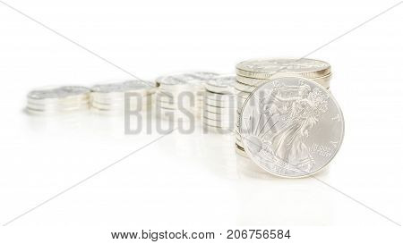 Growing Chart Made Of Silver Coins And An Ounce Silver Eagle