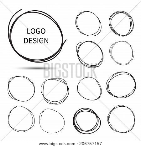 Vector hand drawn circles for Logo design. Doodle sketch scribble circular logo design elements