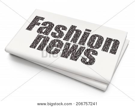 News concept: Pixelated black text Fashion News on Blank Newspaper background, 3D rendering