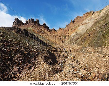 Rocky mountain topology in the Landmannalaugar valley Iceland