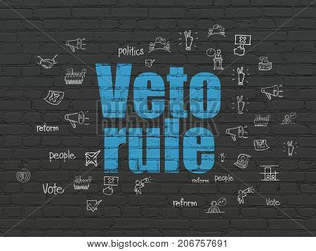 Politics concept: Painted blue text Veto Rule on Black Brick wall background with  Hand Drawn Politics Icons