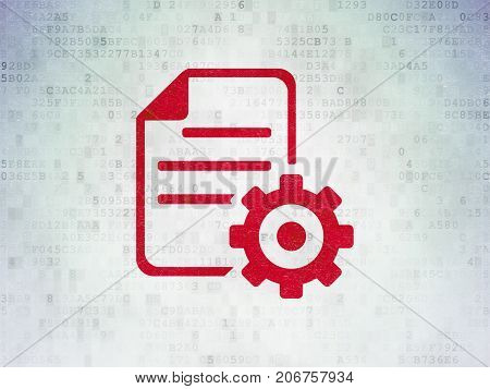 Programming concept: Painted red Gear icon on Digital Data Paper background