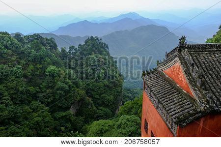 WUDANG ; SEP 09 2017 : Hubei China. The Wudang MountainsHubei China. Many Taoist monasteries to be found thereIt's world heritate and famous in one of China. good weather sometime it a lot of the fog. And It's especially name.