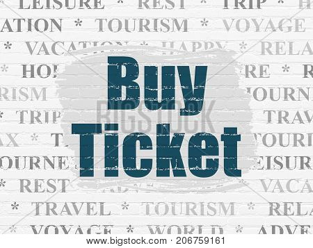 Tourism concept: Painted blue text Buy Ticket on White Brick wall background with  Tag Cloud