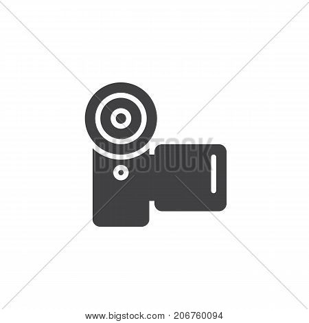 Camcorder icon vector, filled flat sign, solid pictogram isolated on white. Video camera symbol, logo illustration.