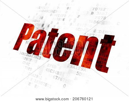 Law concept: Pixelated red text Patent on Digital background