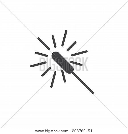 Sparkler icon vector, filled flat sign, solid pictogram isolated on white. Symbol, logo illustration.