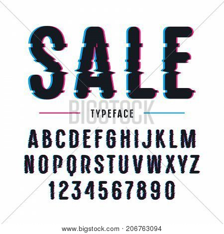 Decorative sanserif font with rounded corners. Letters and numbers with glitch distortion effect