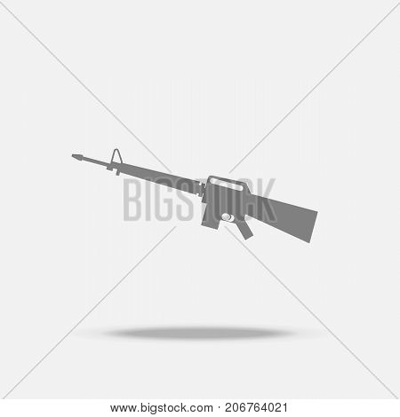Assault Rifle Flat icon vector with shadow