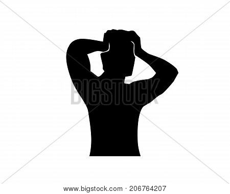 a person have headache silhouette, man put his hands on head, silhouette design, isolated on white background.