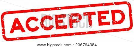 Grunge red accepted word square rubber seal stamp on white background