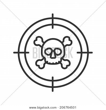Aim on skull and crossbones linear icon. Chemical hazard thin line illustration. Searching dangers contour symbol. Vector isolated outline drawing