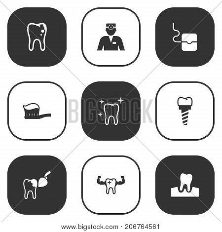 Collection Of Dentist, Procedure, Implantation And Other Elements.  Set Of 9 Teeth Icons Set.
