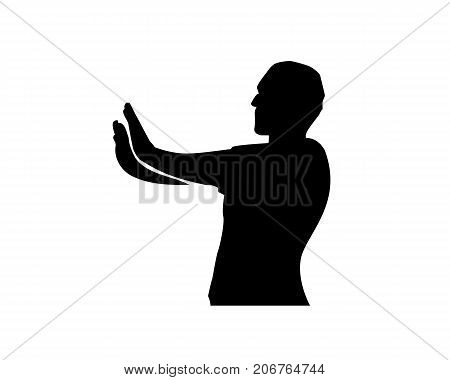 man stopping someone in his hands silhouette, man stopping silhouette, silhouette design, isolated on white background.