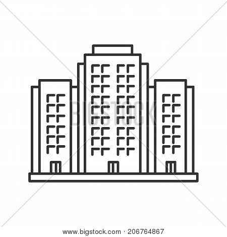 Multi-storey building linear icon. Apartment house. Thin line illustration. Tower block. Contour symbol. Vector isolated outline drawing