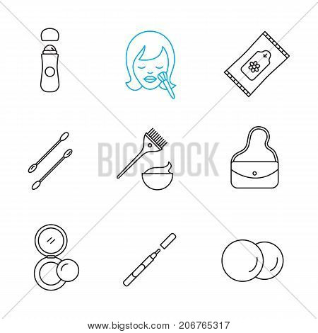 Cosmetics accessories linear icons set. Thin line contour symbols. Roll antiperspirant, wet wipes, cotton pads, earsticks, hair dyeing kit, purse, rouge, eyeliner. Isolated vector outline illustration