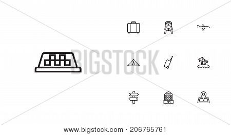 Collection Of Direction, Bag, Suitcase And Other Elements.  Set Of 10 Travel Outline Icons Set.
