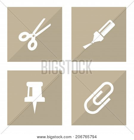 Collection Of Pushpin, Highlighter, Clippers And Other Elements.  Set Of 4 Instruments Icons Set.