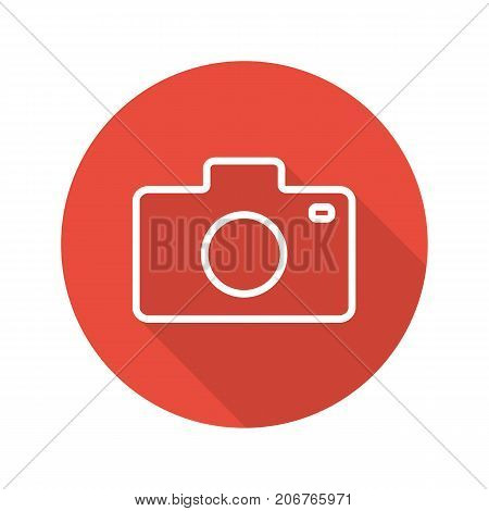Photocamera flat linear long shadow icon. Vector outline symbol