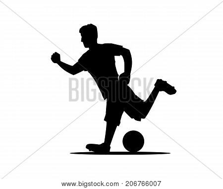 player shooting a ball silhouette, football player with ball silhouette, illustration design, isolated on white background.