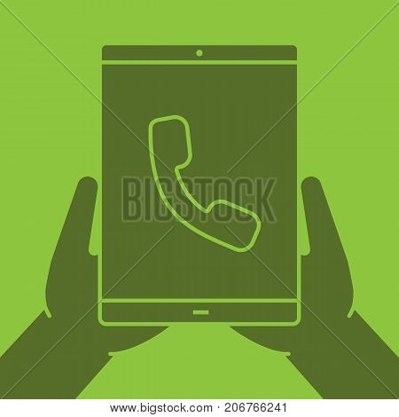 Hands holding tablet computer glyph color icon. Incoming call. Silhouette symbol. Tablet pc with handset. Negative space. Vector isolated illustration