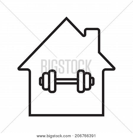 Home sport training linear icon. House with barbell inside thin line illustration. Gym contour symbol. Vector isolated outline drawing