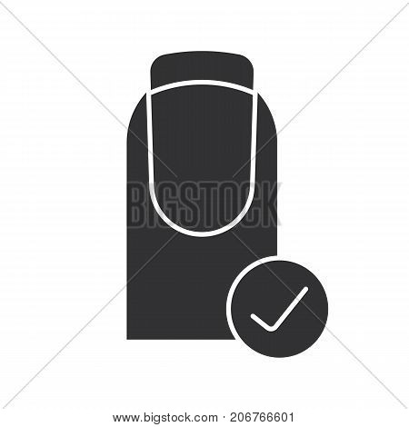 Healthy fingernails glyph icon. French manicure with check mark. Silhouette symbol. Nails in good condition. Negative space. Vector isolated illustration poster