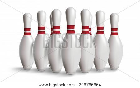 bowling pin isolated on white with gradient for your design