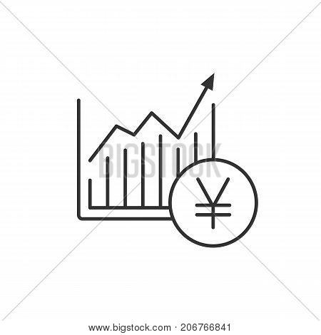 Market growth chart linear icon. Thin line illustration. Statistics diagram with yen sign. Contour symbol. Vector isolated outline drawing