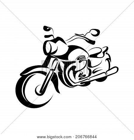vector stylized black and white motorcycle, graphic illustration motobike for design