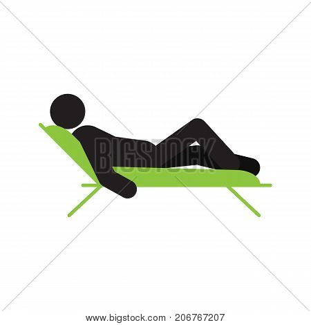 Man lying in a deck-chair silhouette icon. Taking rest. Relaxing. Isolated vector illustration