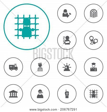 Collection Of Thief, Truck, Walkie-Talkie And Other Elements.  Set Of 12 Criminal Icons Set.