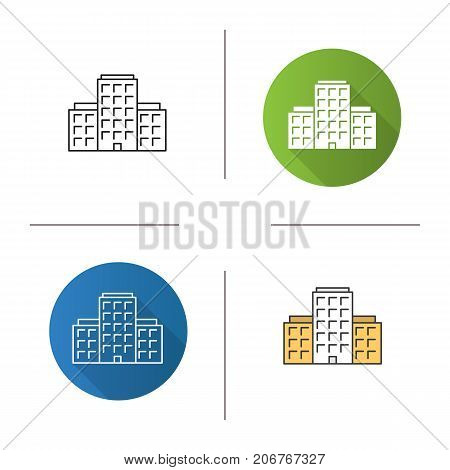 Multi-storey building icon. Flat design, linear and color styles. Apartment house. Tower block. Isolated vector illustrations