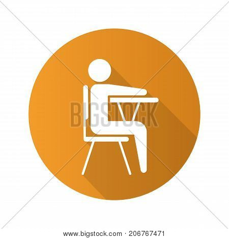 Pupil flat design long shadow glyph icon. School student sitting at desk. Vector silhouette illustration